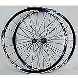Ciclismo Ruedas Juego Ruedas Bicicleta Carretera Llanta 700C Trasero Delantero Bici Freno C V Hub Aleación 30mm Altura Pared Doble Liberación Rápida 7-11 Velocidades ( Color : Black Hub blue logo )