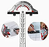 MUSIBO Adjustable Protractor Angle Finder, Woodworkers Edge Ruler, Multi-Function Angle Measure Tool Woodworking Ruler Kit with Wall Hanging Storage Rack(13in)