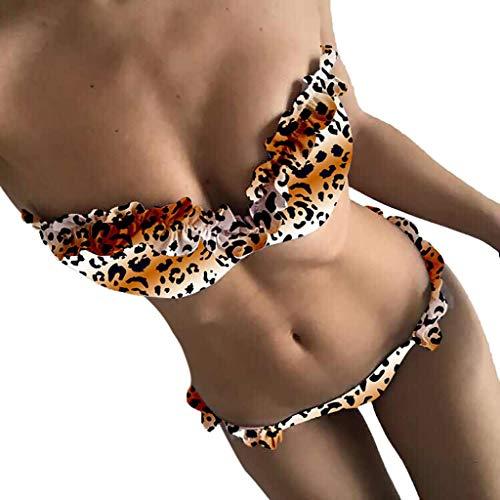VECDY Damen Bikinis Set Rüschen Frauen Leopardenmuster Tankini Set Brasilianische Badebekleidung Oberteil Freizeit Badehose + Bra