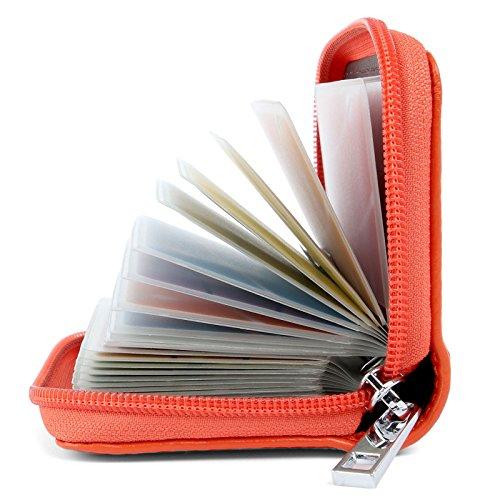 Porta Carte di Credito Pelle per Donna Uomo (Arancione)