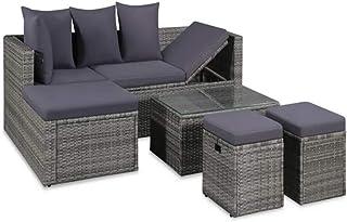 Juego de muebles de jardín de ratán sintético, juego de sofás de jardín con 1 sofá esquinero, 1 mesa de café, 2 reposapiés, 4 cojines, 6 cojines para los asientos.
