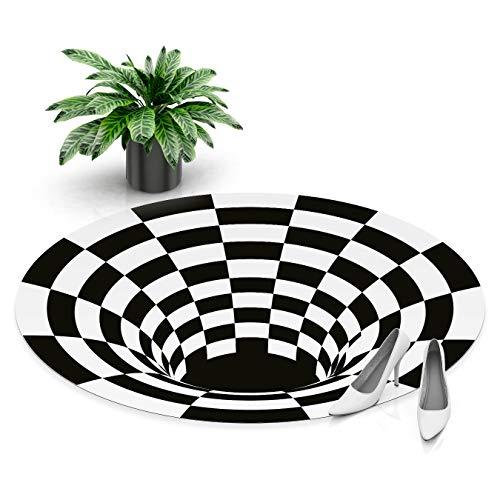 DON LETRA Alfombra Vinílica Redonda de Ilusión Óptica 3D - Blanco y Negro - 80 x 80 x 0.2 cm - Alfombra para Salón, Dormitorio, Cocina, Baño, Oficina - Impermeable y Lavable, ALV-025