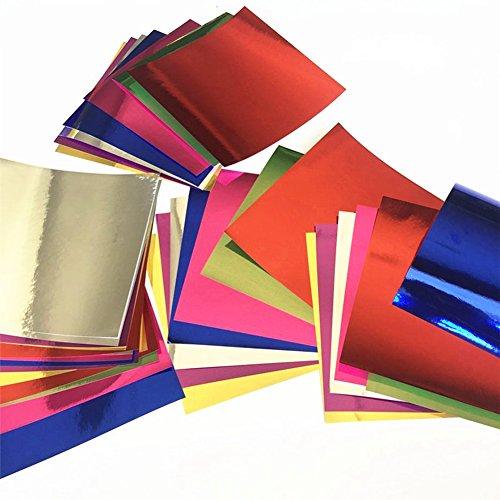 56x Milopon Origami Papier Faltpapier Craft Paper Glitzer Aluminium Folie Papier Bastelpapier Origamipapier Zweiseitig Faltpapier für Kinder 15x15cm 7 Farben mischen