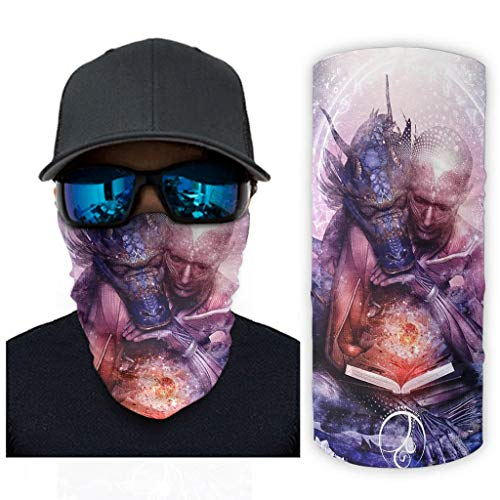NA mysterieuze monnik Dragon Astrologie Fantasy man draak magische cirkel druk bandana gezichtsmasker zonnebescherming gezichtswikkelsjaal