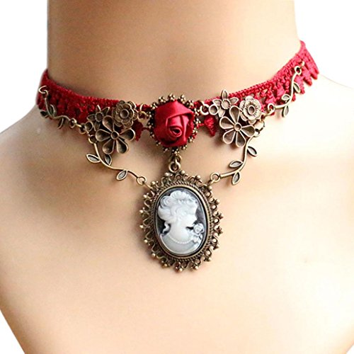 usstore friend necklaces women Usstore Pendants Women Stylish Cameo Red Rose Lace Fashion Necklace Xmas Jewelry Gift