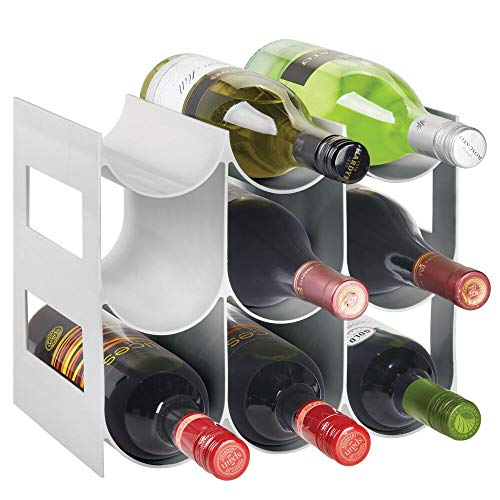 mDesign Plastic Free-Standing Water Bottle and Wine Rack Storage Organizer for Kitchen Countertops Pantry Fridge - 3 Tiers Holds 9 Bottles - Light Gray