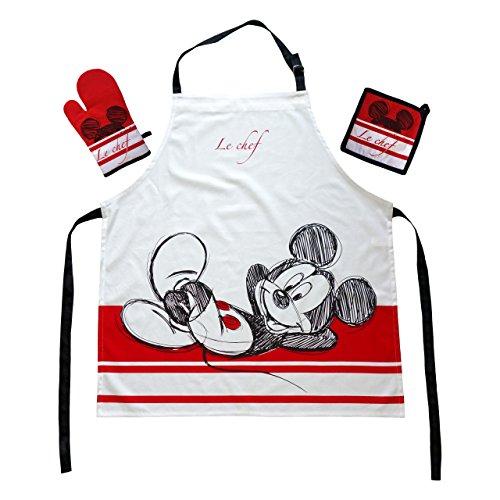 Global Labels Das Geschenk für den Walt Disney Mickey Mouse Fan: Kochschürzenset mit Micky Maus Micki Schürze 100% Baumwolle