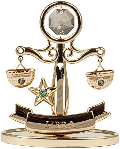 Rieser Interieur Sternzeichen Waage Figur mit Kristallen goldfarben Made with Swarovski Elements