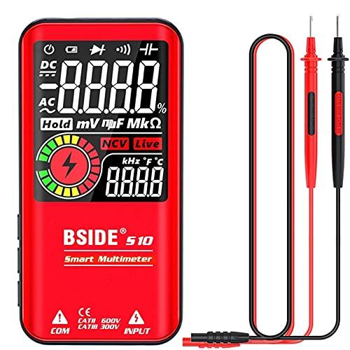 Multímetro digital 9999 Cuenta de 3.5'Pantalla de color LCD DC CA Voltaje de voltaje con capacitancia Medidor de diodo NCV OHM HZ Continuity Tester (Color : No Battery Red)
