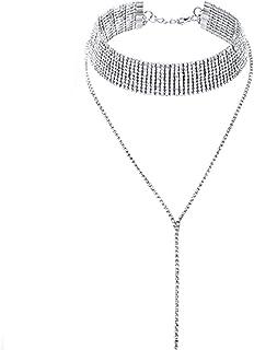 Kercisbeauty Dainty Rhinestones Choker Y Necklace for Women and Girls Party Diamond Choker Long Chain Necklace Bar