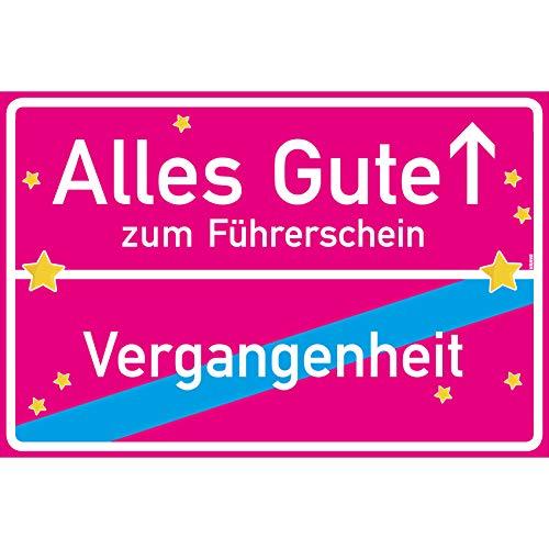 vanva Alles Gute zum Führerschein Ortsschild Führerschein Hülle Schild 30x20 cm Führerschein Bestanden Geschenk Führerscheinhülle Pink