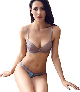 f489dad862 Women s Lace Bra Set Sexy Lingerie Bra and Panties Push Up Underwire Bra