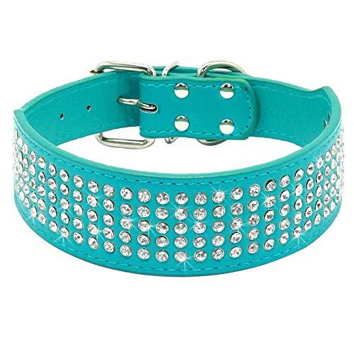 Beirui Rhinestones Dog Collars - 5 Rows Full Sparkly Crystal Diamonds Studded PU Leather - 2 Inch...