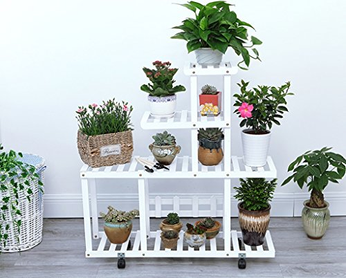 Présentoir à motifs multicouches à étagères en bois multicolore étagère à bois salon de fleurs salon de jardin intérieur (Couleur : Blanc)