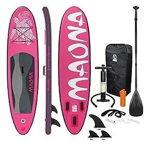 ECD Germany Tavola Gonfiabile Paddle Board Stand Up Maona (SUP) 308 x 76 x 10 cm Rosa Diversi Modelli Pagaia in PVC Include Pompa Borsa da trasporto e Accessori Surfboard Tavola Paddle Surf Board Rosa