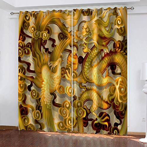 UDKHJH 3D Photo Printing Window Curtains - Abstract Gold Animals Dragons - Super Soft Printed Thermal Insulated Curtains Window Treatment Eyelet Blackout Curtains For Bedroom 140X100Cm