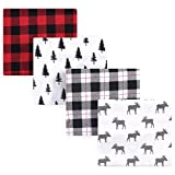 Hudson Baby Unisex Baby Cotton Flannel Receiving Blankets, 4-Pack, Moose, One Size
