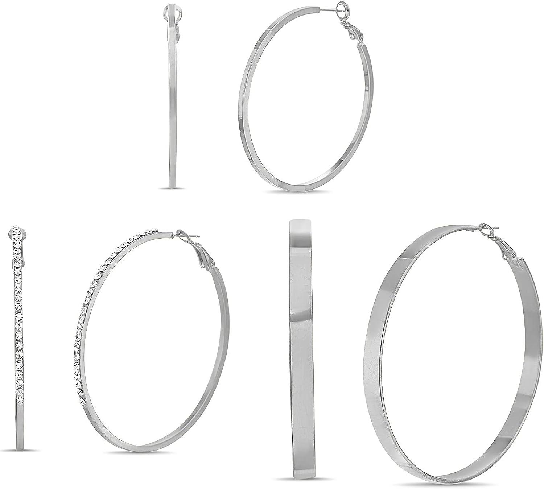 Steve Madden 50mm 60mm 67mm Rhinestone Hoop Earrings for Women Three Pair Set
