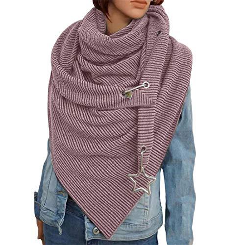 OZZlOR Damen Schal Dreieck Schal Shawl Groß Elegant wickelschal damen mit knopf Lässig Herbst Winter Schal Halstücher Poncho Weicher Schal(B#Rosa,One Size)