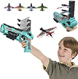 Bubble Catapult Plane Toy Airplane, One-Click Ejection Model Foam Planes for Kids with 4 Pcs Glider Airplane Launcher Fun Outdoor Toy for Kids 4-12 Years Old (Green)