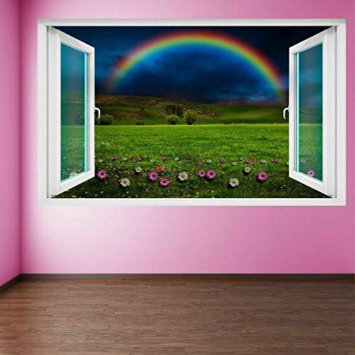 Pegatinas de paredRainbow Field Flowers Wall Art Sticker Mural Poster Habitación de los niños Decoración del hogar FH9