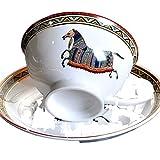 Vintage Love Horse Bone China Taza de café y platillo Set 250ml Nueva pareja de porcelana blanca británica
