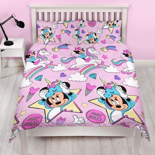 Disney Minnie Mouse Pink Double Duvet Cover | Reversible Unicorns Two Sided Design | Kids Bedding Set Includes Matching Pillow Case
