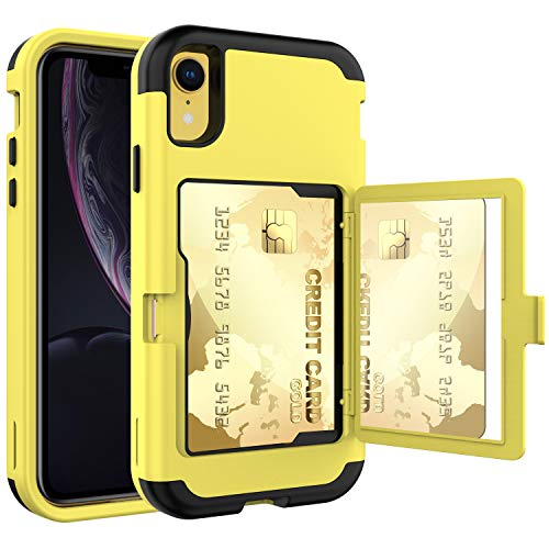 ACXLIFE iPhone XR Case,XR Wallet Credit Card Holder Case,Shockproof Heavy-Duty Protective Hybrid Cover with Card Slot Holder and Mirror&Kickstand Case for(Yellow, iPhone xr 6.1 Inch)