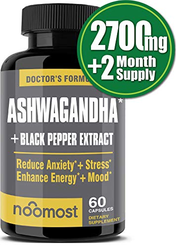 Ashwagandha Capsules 2700mg, 100% Pure Ashwagandha Root Powder & Black Pepper Extract Helps Natural Anxiety Relief for Adrenal Support, Thyroid Support, Cortisol & Mood Boost, 2 Months Supply