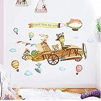 世界中を旅する飛行機キッズルーム用ウォールステッカー保育園の壁の装飾取り外し可能な子供ゾーン装飾的なウォールステッカー