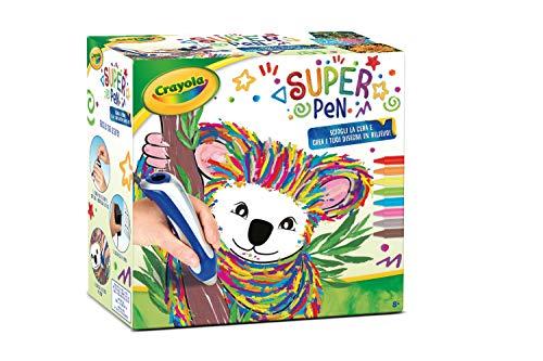 CRAYOLA- Super Pen Koala, per sciogliere i Pastelli a Cera e Creare Disegni in Rilievo, Colore Argento/Blu, 25-0391