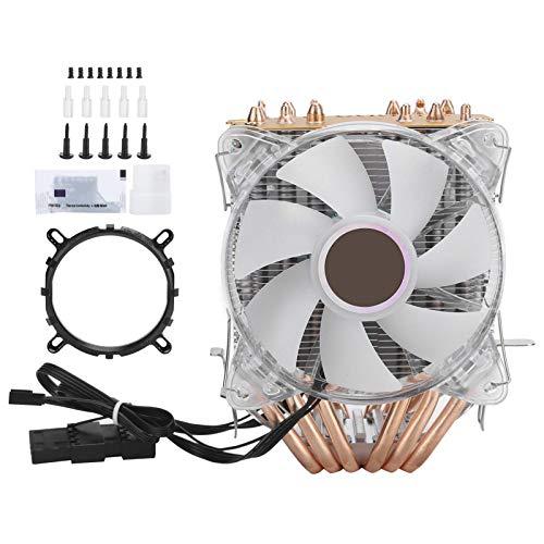 Ventilador de CPU, accesorio de computadora enfriador de CPU de 4 pines para Intel LGA / 775/1155/1156/1366 / AMD / AM2 / AM2 + / AM3 con 6 heatpipes