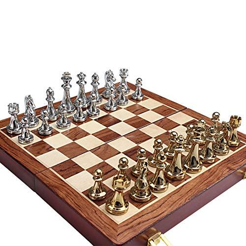 Juego de tablero de ajedrez plegable de madera con piezas de ajedrez de metal para niños y adultos, caja de regalo premium