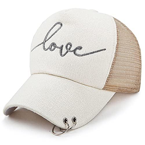 VSDFS Sombrero De Red De Anillo De Perforación De Moda Superior, Sombrero De Béisbol De Aro De Verano para Mujer, Sombrero De Protección Solar De Tela De Seda Plateada, Caqui Ajustable