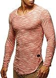 Leif Nelson Sudadera de Manga Larga Cuello Redondo suéter de los Hombres LN-6358 Rosa Salmón Medium