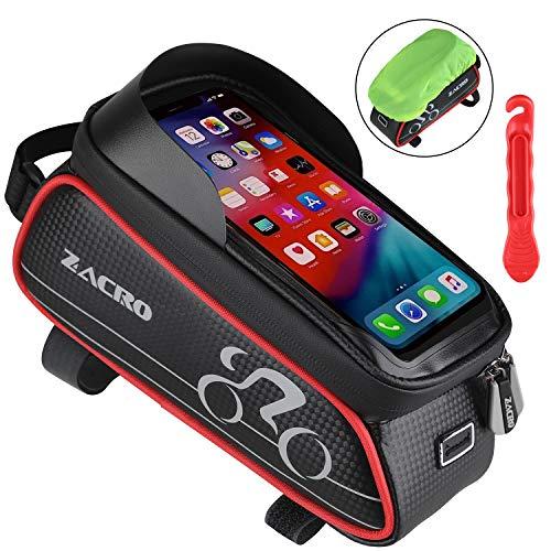 Zacro Sacoches de Cadre Vélo,Sacoches de Guidon,Support de Téléphone à Vélo,Imperméable à l'eau,l'écran Tactile,Trou de Câble d'écouteur,pour iPhone/Samsung et Téléphones de Moins de 6.0Pouces