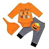 Recien Nacido Bebe my First Halloween Mameluco de Calabaza + Pantalones + Sombrero Disfraz Halloween Ropa (12 Meses, Naranja)