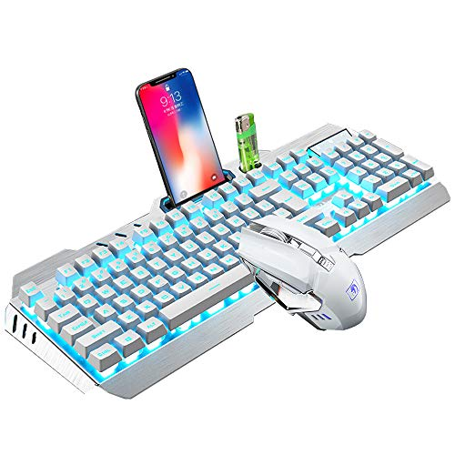 Wireless Gaming Keyboard and Mouse,Blue Backlit Rechargeable Keyboard Mouse with 3800mAh Battery Metal Panel,Mechanical Feel Keyboard and 7 Color Gaming Mute Mouse for PC Gamer