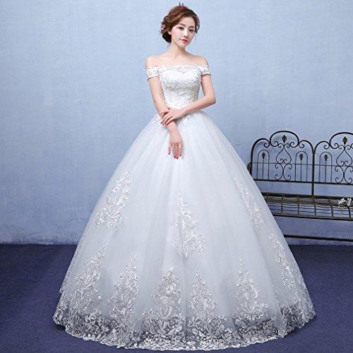 u&h HU Verano Estilo Blanco Hombro Vestido de Novia Moderno Encaje Vestido de Novia de Vestido de Novia de Vestido,A,METRO