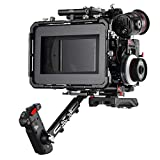 """JTZ DP30 JL-JS7 Camera Cage with 15mm Rail Rod Baseplate Rig and Top Handle+Shoulder Pad and Electric Handle Grip+Follow Focus+4×4"""" Carbon Fiber Matte Box for SONY A6000 A6300 A6500 Dslr Cameras"""