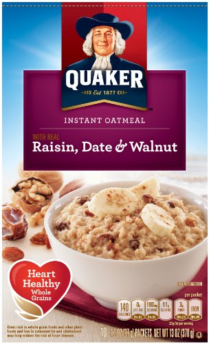 Quaker Instant Oatmeal Raisin, Date & Walnut, 4er Pack (4 x 350 g Packung)