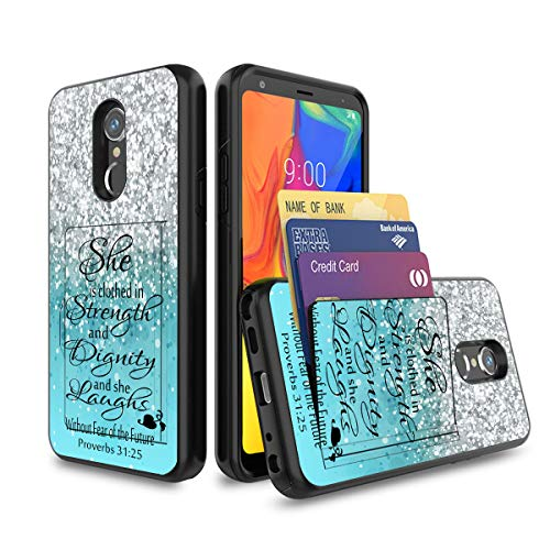LG Stylo 5 Case,Wallet Case Shockproof 2 in 1 Hybrid Hard PC Soft TPU Non-Slip Protective Phone Case with Credit Card ID Slot Holder for LG Stylo 5,Proverbs 31:25 Bible Verse Blue Sparkles Glitter