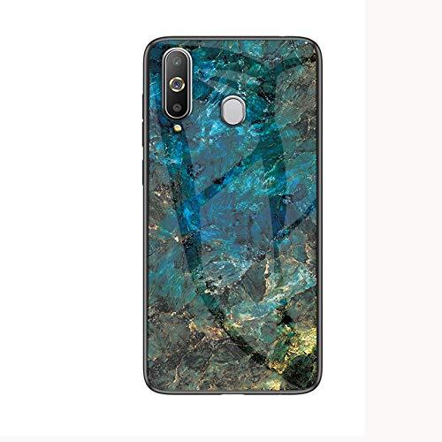 COVO® Hülle für Huawei P30 Lite Hülle Marmor Gehärtetem Glas & Silikon Rand Hybrid Hardcase Stoßfest Kratzfest Handyhülle Dünn Case Handyhülle für Huawei P30 Lite (Blau)