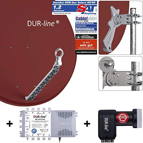 DUR-line 8 Teilnehmer Set - Qualitäts-Alu-Satelliten-Komplettanlage - Select 85cm/90cm Spiegel/Schüssel Rot + Multischalter + LNB - für 8 Receiver/TV [Neuste Technik, DVB-S2, 4K, 3D]