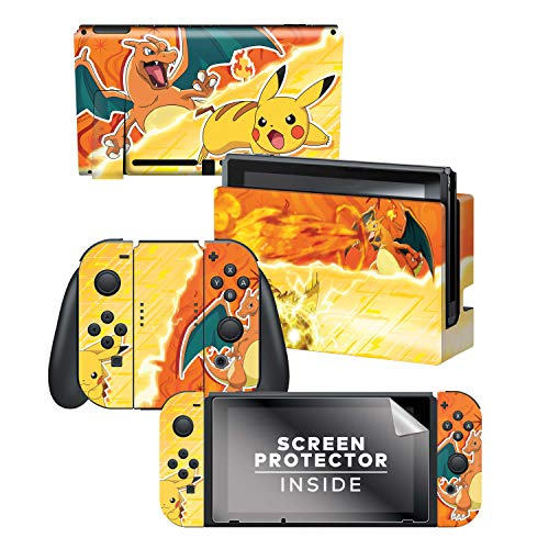 "Controller Gear Nintendo Switch Skin und Displayschutzfolie Set – Pokemon – ""Pikachu Vs Charizard Set 1\"" – Nintendo Switch"