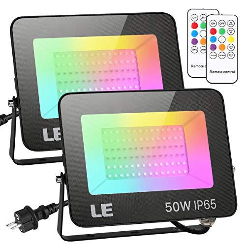 LE 50W LED Strahler RGB mit RF-Fernbedienung, 2er Wasserdicht LED Fluter mit Memory-Funktion, Dimmbar Farbwechsel Außenstrahler, IP65 Farbig Außenlampe, Bunt Flutlicht für Garten, Party Deko, Hotel