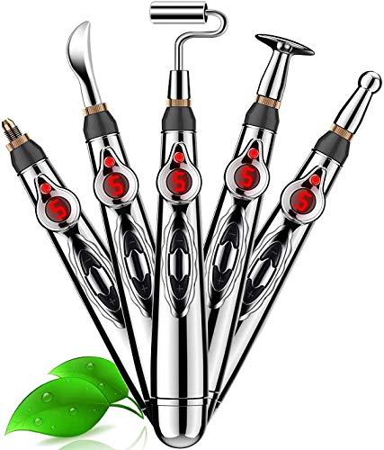 Acupuntura Masaje Pen, Bolígrafo de acupuntura,5 IN 1 Acupuncture Pen, Pluma de Acupuntura Electrónica, Masaja Eléctrica Acupuntura Pluma Terapia del Dolor Masajeador