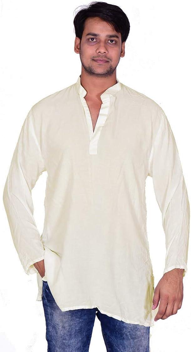 Lakkar Haveli Men's Indian Tank Top Camis Shirt Kurta Solid Cream Color Tunic 100% Cotton Big Tall