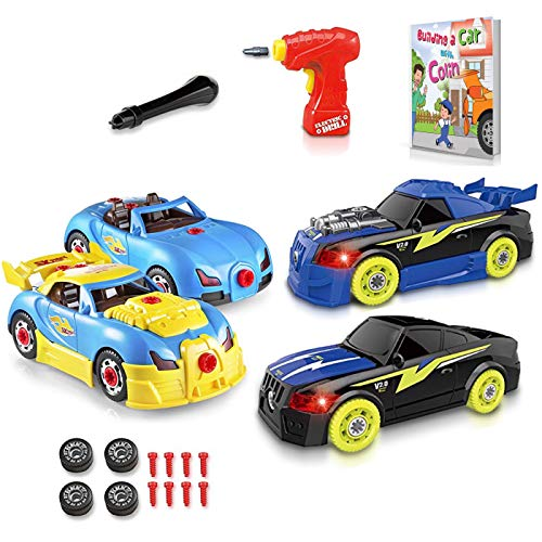 Build Your Own Race Car Set – Take Apart Race Cars Set with Real Working Drill and Screws – Educational Stem Toys for Boys and Girls with Sounds and Lights – Build a Car with Colin Storybook Included
