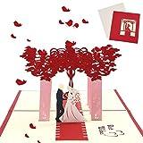 Sethexy 3D Romántico Invitación de boda Tarjetas de felicitación Al aire libre Boda Tarjeta de compromiso Hecho a mano Surgir Aniversario Regalo para esposa, esposo, amigos, familia